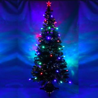 6ft Green Pre Lit Multi Colour Fibre Optic Christmas Tree Colour LED Cone Star