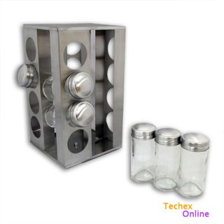 Revolving Stainless Steel Spice Rack with 12 Glass Bottles Jars