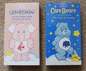 Care Bears 2 VHS Elephant Bravest of The Brave Grumpy Bear The Cloud of Uncaring