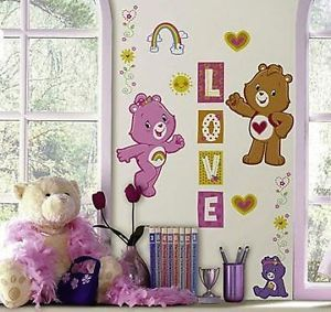 Care Bears 24 Removable Wall Decals Rainbow Cheer Love Room Decor Stickers 1