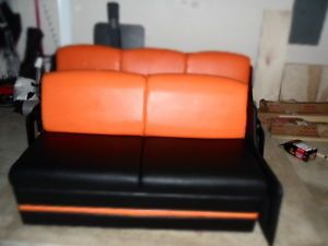 Two New Black Orange Jack Knife Sofas Sleepers for RV Toy Hauler Enclosed