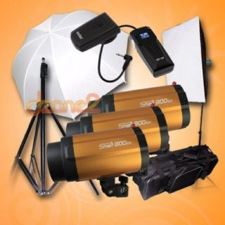 Pro Studio Strobe Flash Light 300W x 3 900W Kit Set with Soft Box Umbrella S601