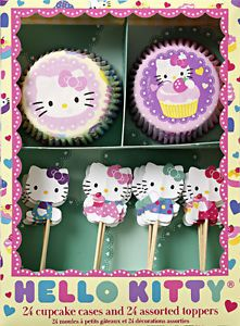 Hello Kitty Party Cupcake Wrappers Kit 24 Toppers Meri Meri Cat Theme Supplies