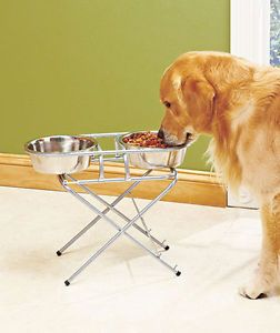 3 Stage Adjustable Pet Dog Puppy Cat Feeder Water Food Bowls Stainless Steel