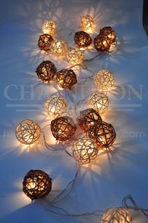 Brown White Earth Tone Rattan Ball String Home Living Room Decor Wedding Lights