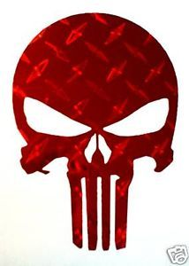 Punisher Skull Decal Sticker Cherry Red Diamond Plate