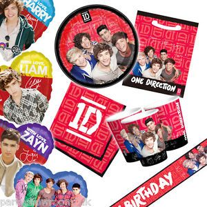 Official One Direction 1D Boy Band Pop Group Tableware Balloons All in 1 Listing