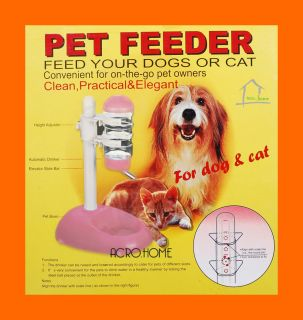 Pink Water Bottle Feeder Food Stand Pet Dog Cat Animal