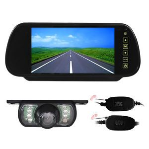 "Wireless Car Cam System 7""LCD Mirror Monitor Kit Rear View Camera Night Vision"
