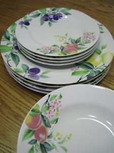 12 PC Dish Dinnerware Set Lot Springtime Floral New Tableware Fine China Japan