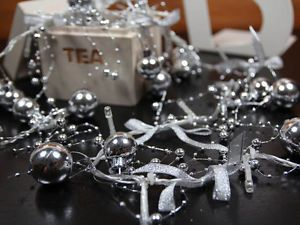 Silver Christmas Ball Cool White LED String Lights Christmas Lights