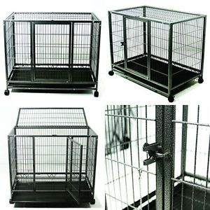 "37"" Dog Kennel w Wheels Portable Pet Puppy Carrier Crate Cage Large Heavy Duty"