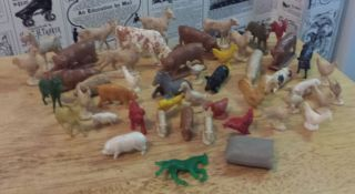Lot of 48 Plastic Farm Animals Horse Dog Cow Pig Duck Chicken More