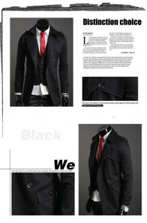 New Design Stylish 2013 Collection Mens Slim Fit Formal Casual Trench Coat SR301