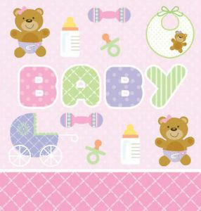 New Born Baby Shower Party Tableware Teddy Bear Pink Plastic Tablecover