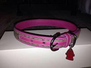 Authentic Coach Signature Logo Dog Collar Leather Pink Large L New 129