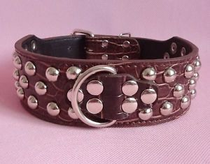 2'' Wide Croc Brown PU Leather Studded Dog Collars Pitbull Bully Boxer Terrier