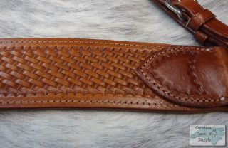 Heavy Duty Basketweave Tooled Leather Roping Style Breast Collar New Horse Tack