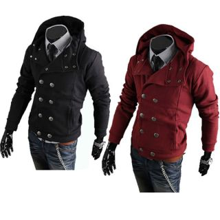 M L XL XXL Winter Men Slim Double Breast Sweater Hooded Coat Jacket Black Red Z