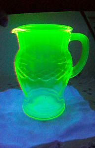 Vintage Depression Vaseline Glass Milk Juice Water Pitcher