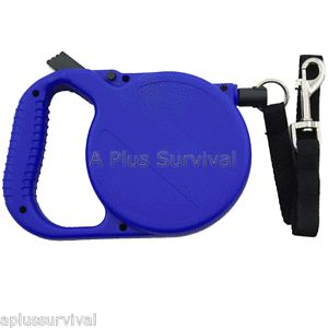 24' Foot Retractable Dog Pet Leash with Collar Swivel Clip for Survival Kit