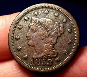Detailed Old US Coins 1853 RARE Pre Civil War Large Cent Penny A55