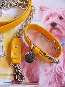 Juicy Couture Yellow Leather Dog Collar Leash Set XS