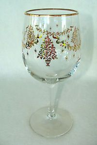 Set of 8 Lenox Holiday Christmas Tree Wine Glass Water Goblet Mint