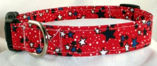 Patriotic 4th July Stars Red White Blue Designer Dog Collar Martingale Leash