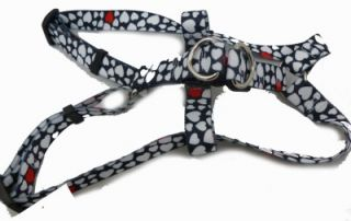 Black White Hearts Love Easy Step in Dog Harness or Leash XS LG