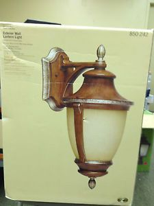 Hampton Bay Wall Mount 1 Light Outdoor Mossoro Walnut Lantern