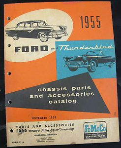 FoMoCo 1955 Ford Car Thunderbird Chassis Parts Accessories Catalog VGUC