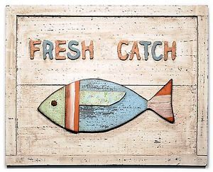 "Wood Wall Plaque Sign 'Fresh Catch' Fish Fishing Cabin Coastal Decor 15"" New T23"