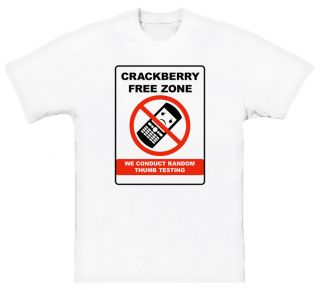 Blackberry Crackberry Warning Funny Sign White T Shirt