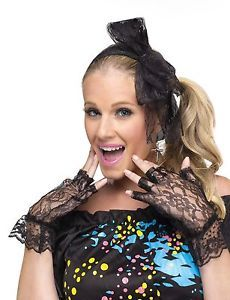80's Decade Pop Star Earrings Lace Bow Headband Gloves Costume Accessory Set Kit