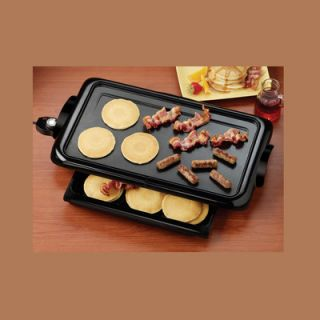 New Electric Griddle w Warming Drawer Flat Top Grill Warmer Server Nonstick