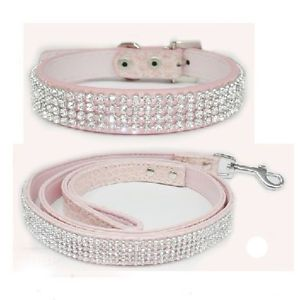 3 Colour Rhinestone Crystal Jeweled PU Leather Pet Cat Dog Collar Leash Set