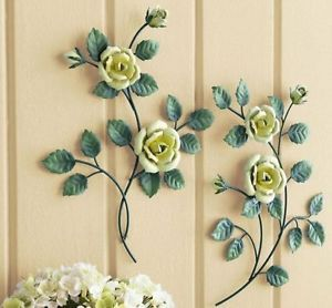 3D 2 Yellow Roses Flower Sculpted Metal Wall Hanging Art Accent Decor