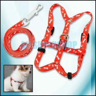 Red Nylon Pet Dog Doggie Puppy Pulling Harness Leash Rope