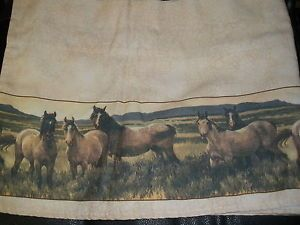 Set of 2 Western Wild Mustang Horse Ranch Lodge Window Curtain Valance 72x14""