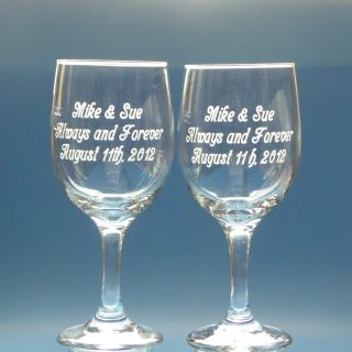 2 Engraved Wine Glasses Personalized Wedding Birthday Holiday Anniversary Gift