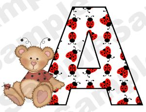 Ladybug Bear Alphabet Letters Name Baby Nursery Kids Wall Stickers Decals Decor