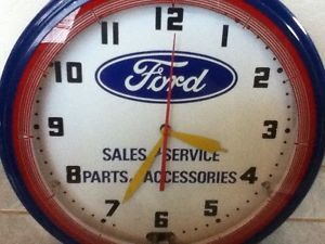 "Vintage 20"" Electrical Ford Sales Service Parts Accessories Neon Wall Clock"