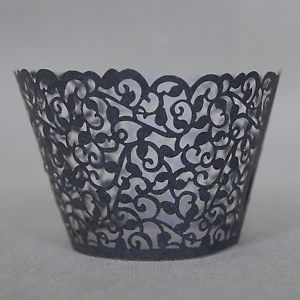 12 x Black Flower Vine Lace Cut Out Cupcake Wrappers Wraps Collars Liners Cups