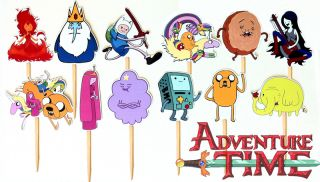 12 Adventure Time Birthday Party Cupcake Cake Toppers Sticks