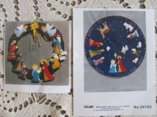 Jeweled Felt Christmas Nativity Tree Skirt Wreath Embroidery Kits