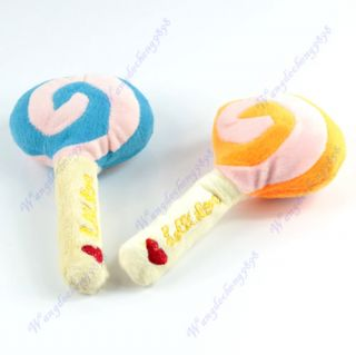 Lovely Cotton Lollipop Shape Pet Dog Cat Animal Squeaky Squeaker Sound Chews Toy