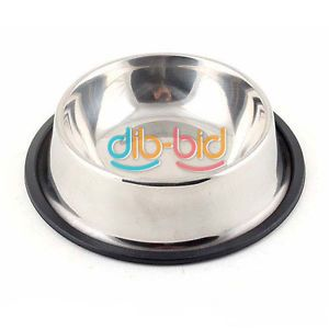 New Stainless Pet Dog Cat Food Water Bowls Dish 16 12