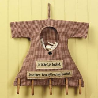 Primitive Country Laundry Room Clothespin Bag Wooden Pins Wall Decor