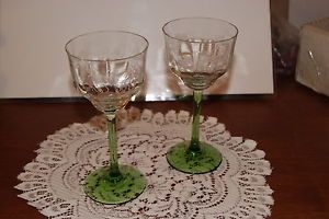 Vintage Lot of 2 Clear Green Glass Etched Grapes Leaves Wine Glasses